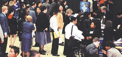 Photo of people at one of our career fairs